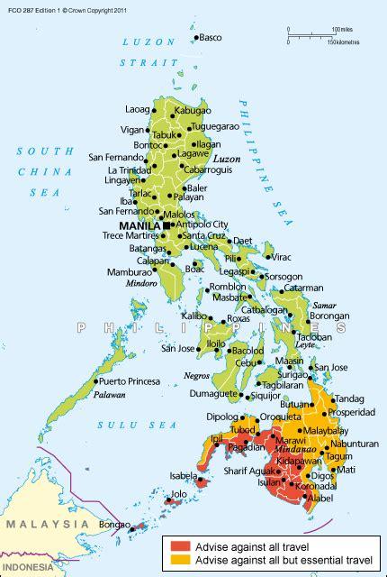 philippine map philippines travel advice govuk