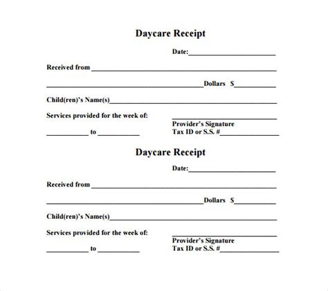 printable receipt for babysitting daycare receipt template 12 free word excel pdf