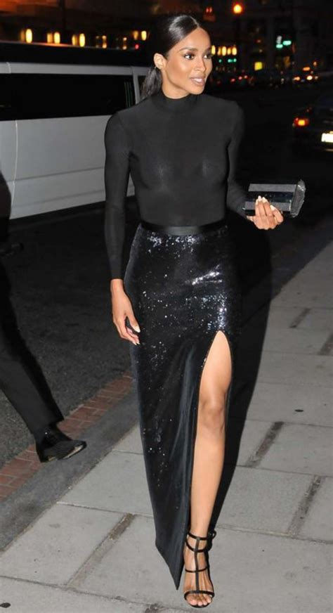 ciara black sequin maxi skirt with slit prom gown for sale