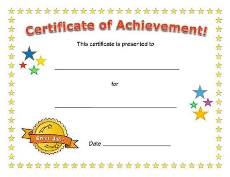 kid certificate templates free printable best 25 certificate of achievement template ideas on