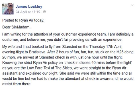 Airline Customer Service Complaint Letter Sle Best Passenger Complaint Letter Ryanair Rant Goes Viral Aol Uk Travel