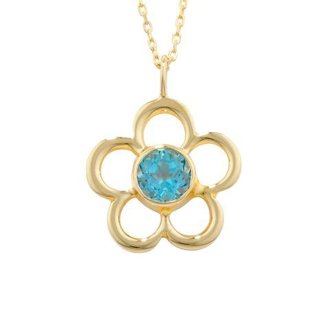 Fine Blue Topaz Yellow Gold Blossom November Birthstone