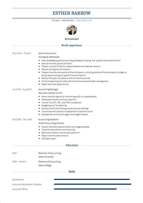 international resume format for accountant accountant cv exles and template