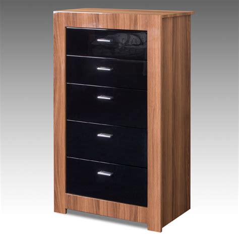 Black High Gloss Drawers by Chest In Walnut With Black High Gloss Drawers