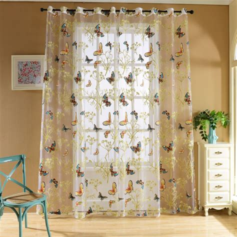 Printed Sheer Curtains 2017 Tropical Floral Print Semi Sheer Curtains Printed Butterfly For Bedroom Kitchen Curtain