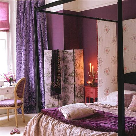 romantic purple bedroom purple bedroom with black four poster bed and screen