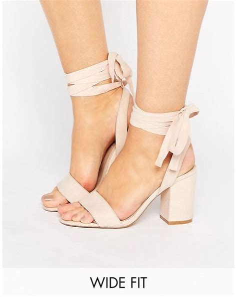 sandals that tie around your leg asos holding on wide fit tie leg sandals in lyst