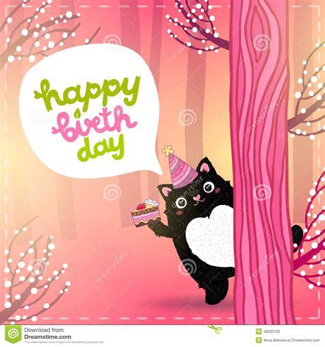 imagenes de happy birthday con gatos happy birthday card with a cute fat cat stock vector