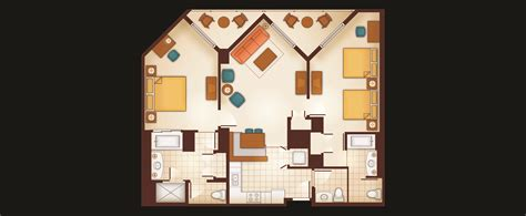 Disney Club 2 Bedroom Villa Floor Plan - two bedroom villa aulani hawaii resort spa