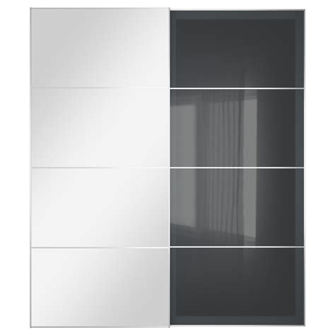 Uggdal Auli Pair Of Sliding Doors Mirror Glass Grey Glass Mirror Sliding Closet Doors Ikea