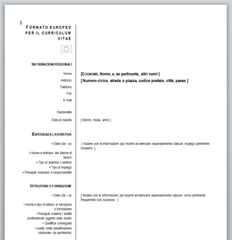 curriculum vitae europeo da compilare download curriculum vitae europeo da compilare download