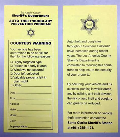 Yellow Notice On Front Door Scvnews Deputies Yellow Tagging Cars To Warn Of Negligence 03 27 2014