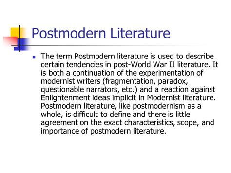 themes postmodernism literature english anglophone literature in the 20th century ppt