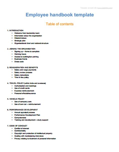 personnel manual template sle employee handbook manual templates