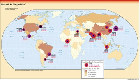 world map top cities growth of megacities map world mappery