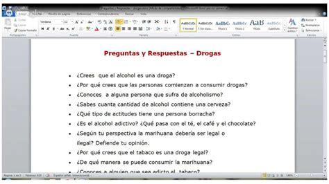 preguntas ingles y respuestas preguntas y respuestas drogas legales e ilegales clase