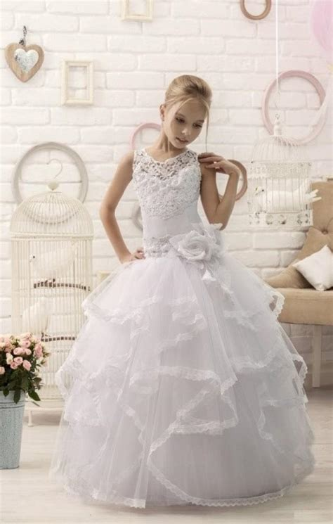 White Lace Flower Girl Dress First Communion Dress #2458323   Weddbook