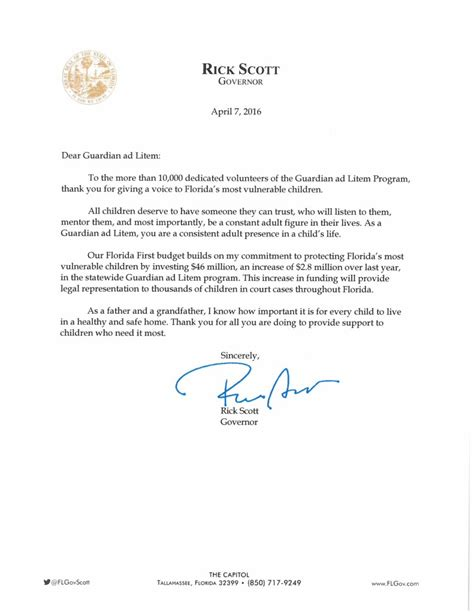 Thank You Letter For Your Service Governor Rick S Personal Letter To Gal Volunteers Quot Thank You For Your Service Quot Florida