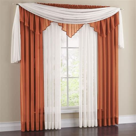 sheer curtain scarf ideas vista sheer 288 inch scarf valance window treatments