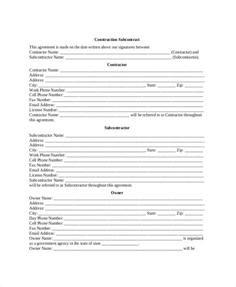 8 Sle Construction Contractor Agreements Sle Templates Subcontractor Safety Plan Template