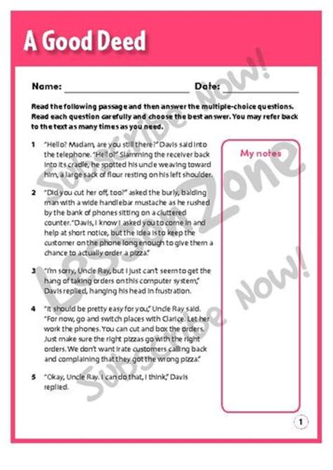 Deeds Essay by Lesson Zone Nz Comprehension