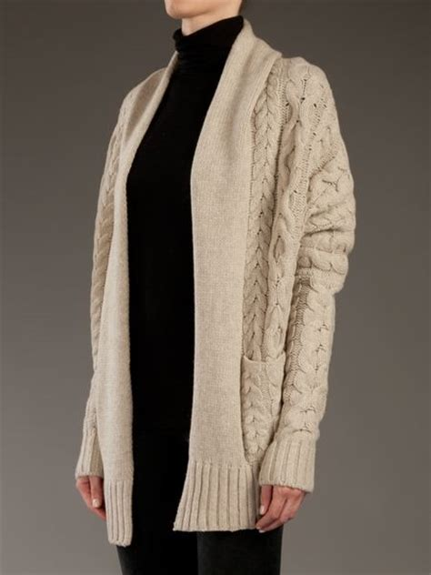cable knit cocoon cardigan vince cable knit cocoon cardigan in beige lyst