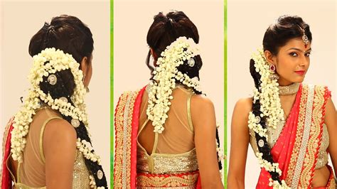 Wedding Hairstyles Up For Ceremony For Reception by Indian Bridal Hairstyle Step By Step South Indian Bridal