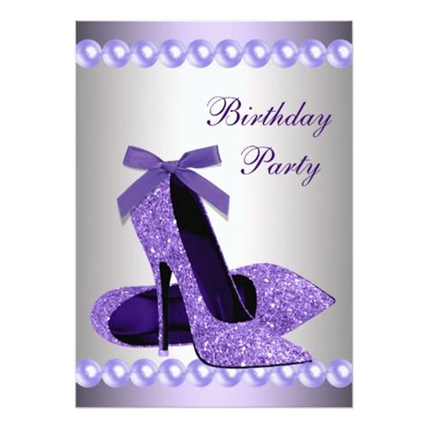 high birthday card template glitter pearls purple high heels shoes birthday card