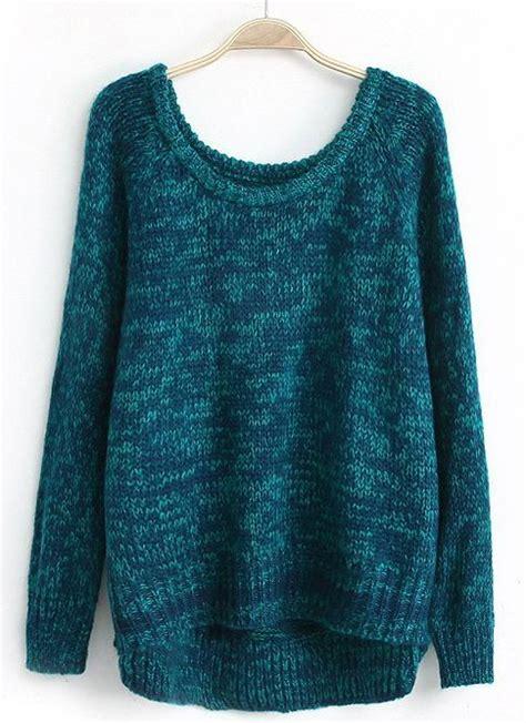 Longhem Trio Blue blue sleeve dipped hem sweater sheinside this is so beautiful sweater weather