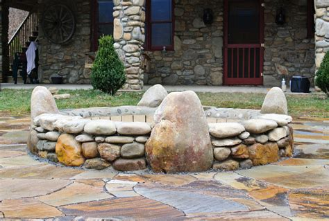 rock firepit rock pits home ideas