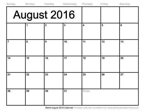 Blank Calendar To Print Blank August 2016 Calendar To Print