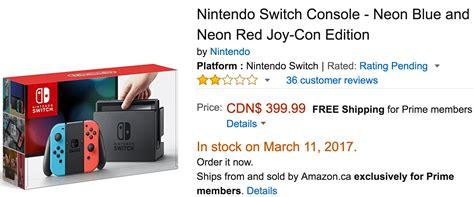 amazon nintendo switch amazon canada deals 399 99 for nintendo switch console