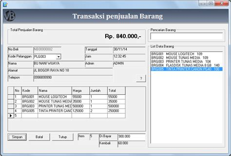 membuat database penjualan membuat form transaksi penjualan vb 6 0 belajar vb 6 0
