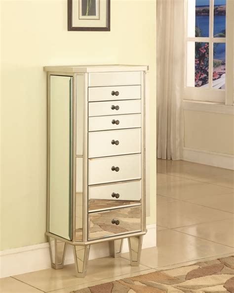 jewelry armoire silver powell mirrored jewelry armoire with silver wood the