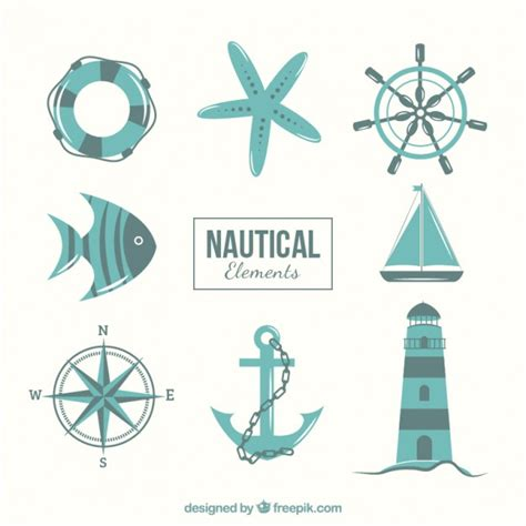 nautical design elements vector nautical elements in blue tones vector free download
