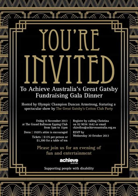 achieve australia s gala great gatsby dinner on 8