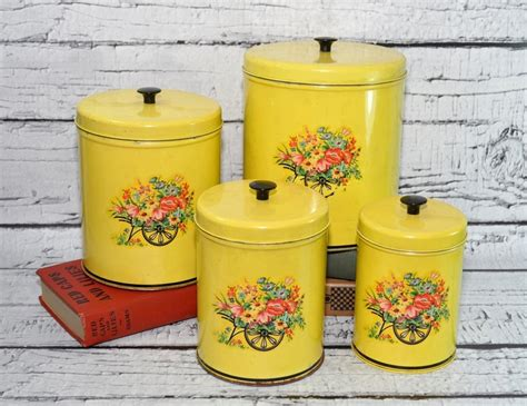 Yellow Kitchen Canisters Vintage Kitchen Tin Canisters Set Of 4 Yellow
