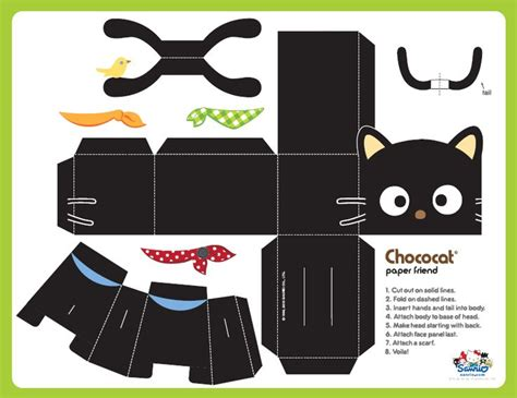 Cut Out Paper Crafts - free printable chococat cat paper paper