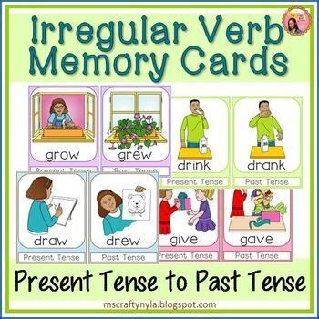 irregular past tense verb cards organized by pattern of change 28 best irregular verbs images on pinterest english