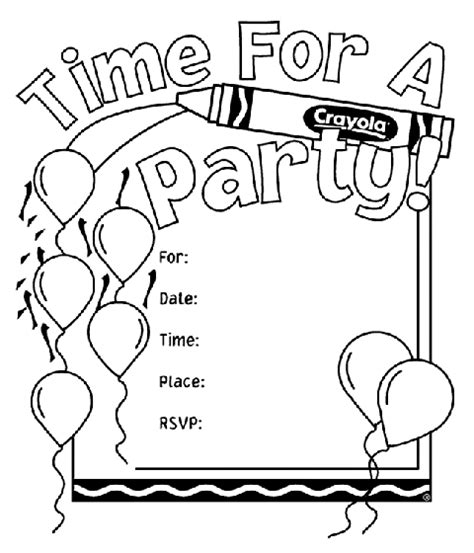 birthday themed coloring pages birthday party invitations coloring page crayola com
