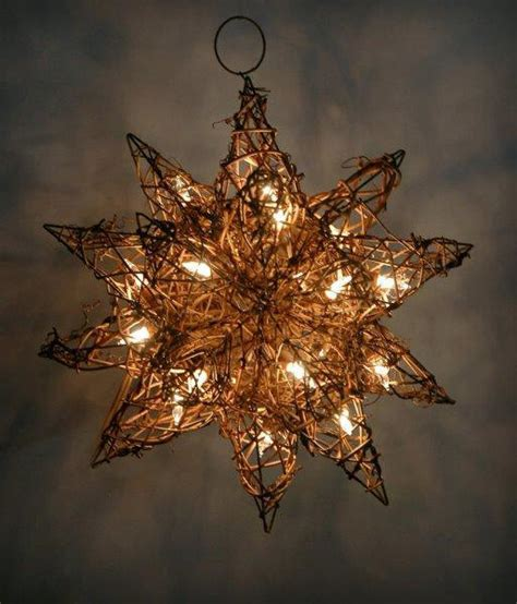 grapevine moravian star with string lights 10in