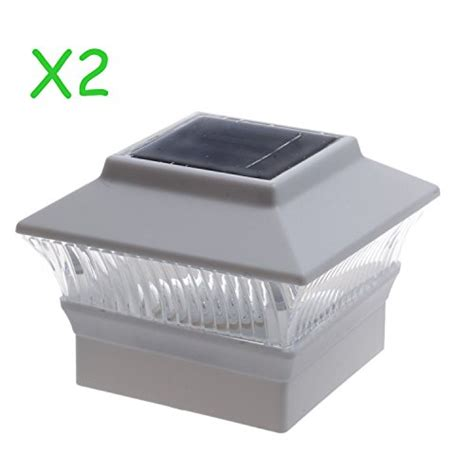 Solar Deck Cap Lights 2 Pack Solar Power Square White Outdoor Garden Deck 4x4