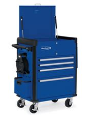 Rolling Cart With Locking Drawers Roll Cart Locking Flip Top 4 Locking Drawers Royal Blue