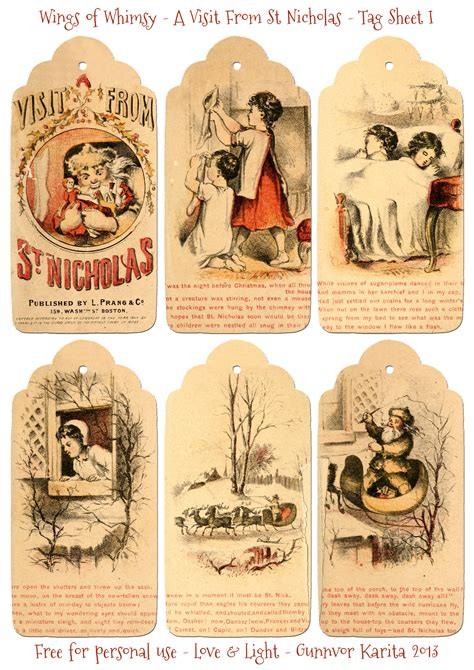 printable victorian christmas tags a visit from st nicholas 1864 12 printable tags wings