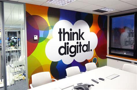 wall murals designs wallpaper designer interiors interior creative office branding using wall graphics from vinyl