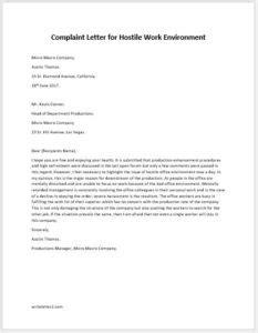 Demand Letter Hostile Work Environment complaint letter for hostile work environment