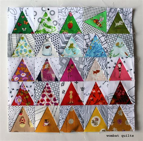 free pattern triangle quilt some more mini fun for paper piecing monday wombat quilts