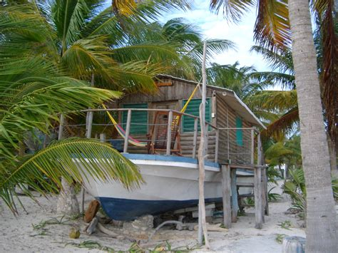 stock photo  wooden log cabin houseboat  mexico