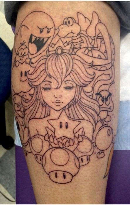 princess peach tattoo designs world princess and mario bros on