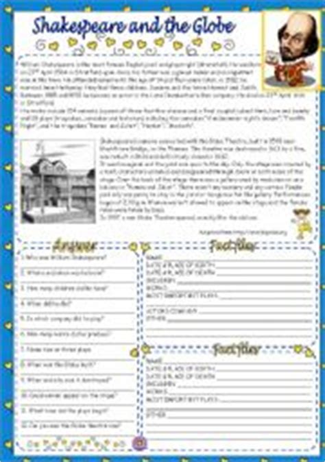 literature fact file worksheet shakespeare and the globe